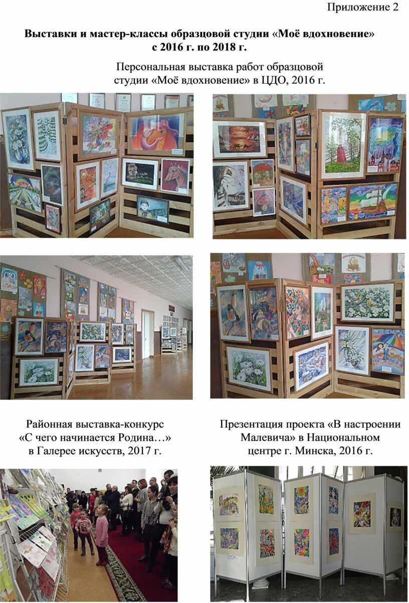 Приложение 2 Выставки и мастер-классы образцовой студии «