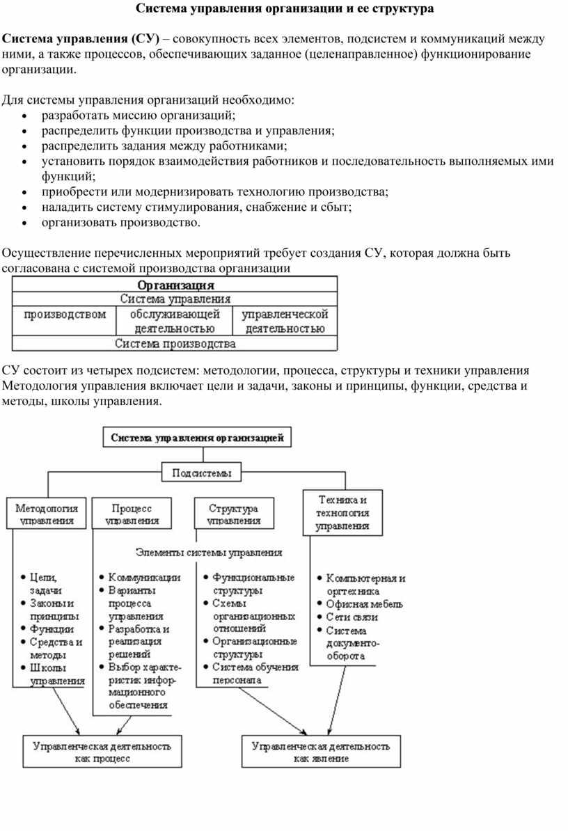 Система управления организации и ее структура