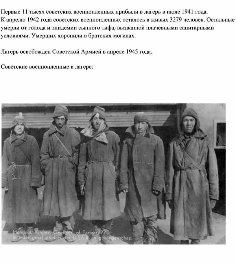 Первые 11 тысяч советских военнопленных прибыли в лагерь в июле 1941 года