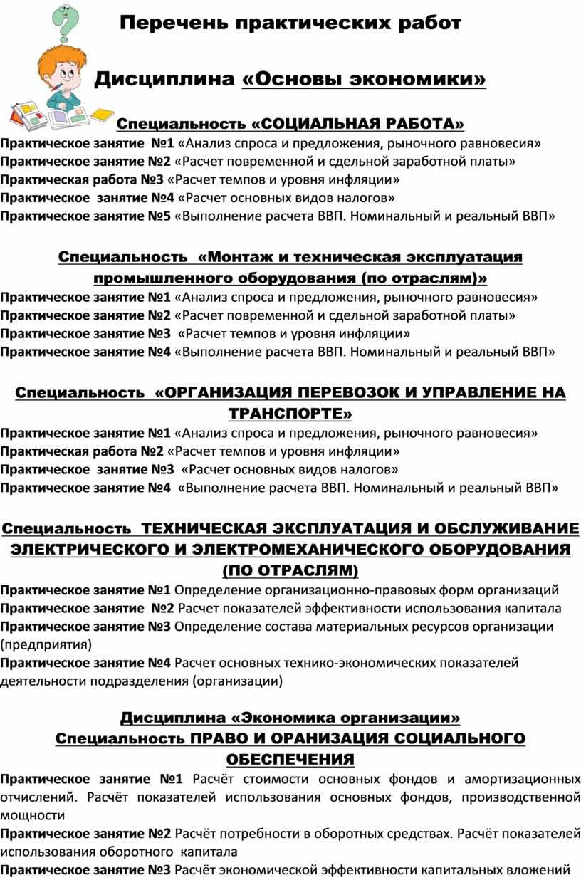 Перечень практических работ