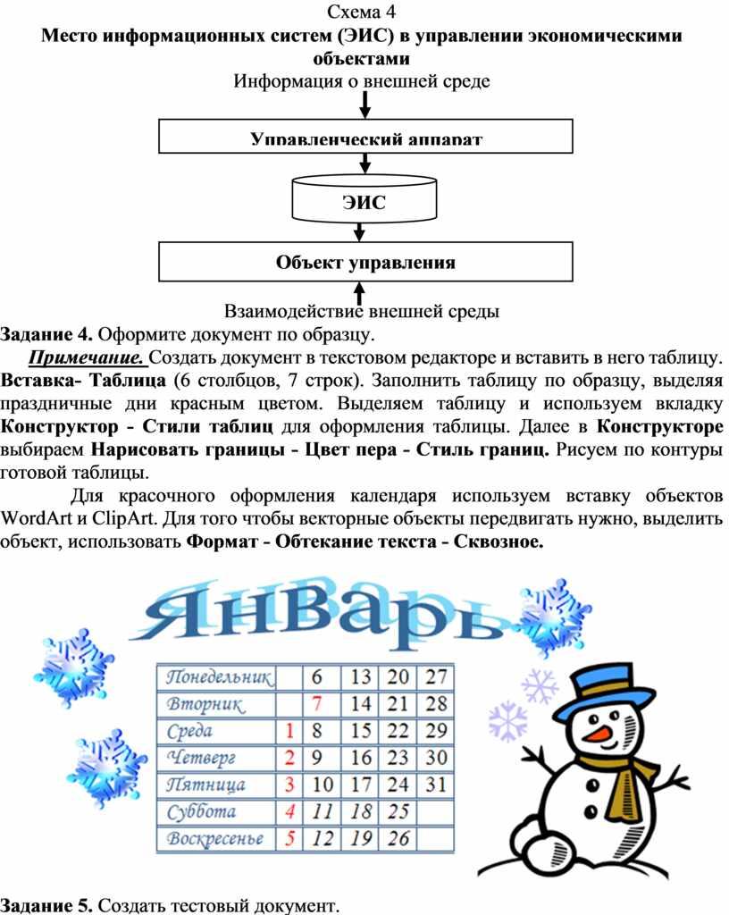 Схема 4 Место информационных систем (ЭИС) в управлении экономическими объектами