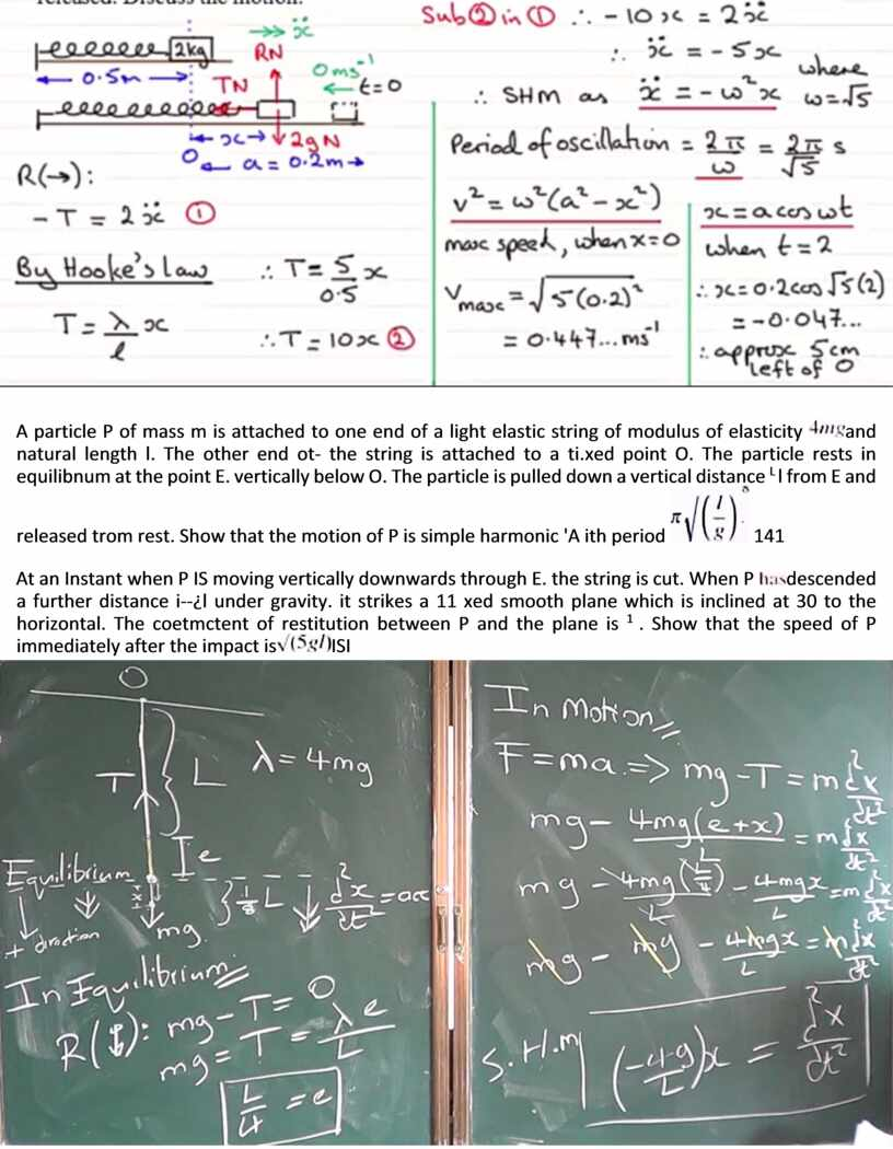 A particle P of mass m is attached to one end of a light elastic string of modulus of elasticity and natural length l