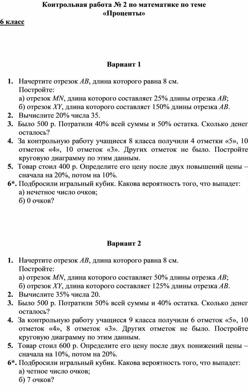 К онтрольная работа № 2 по математике по теме «Проценты» 6 класс