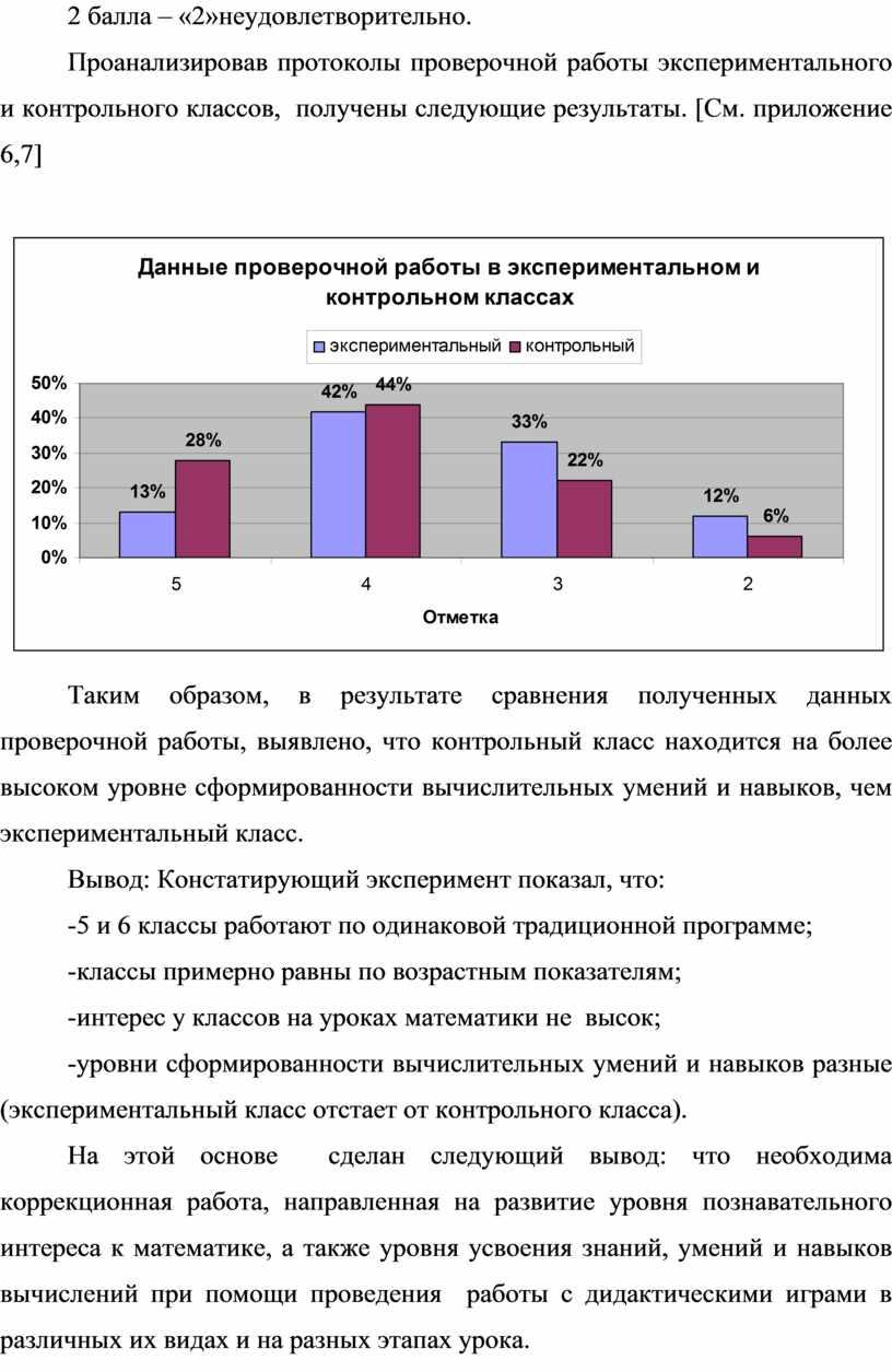 Проанализировав протоколы проверочной работы экспериментального и контрольного классов, получены следующие результаты
