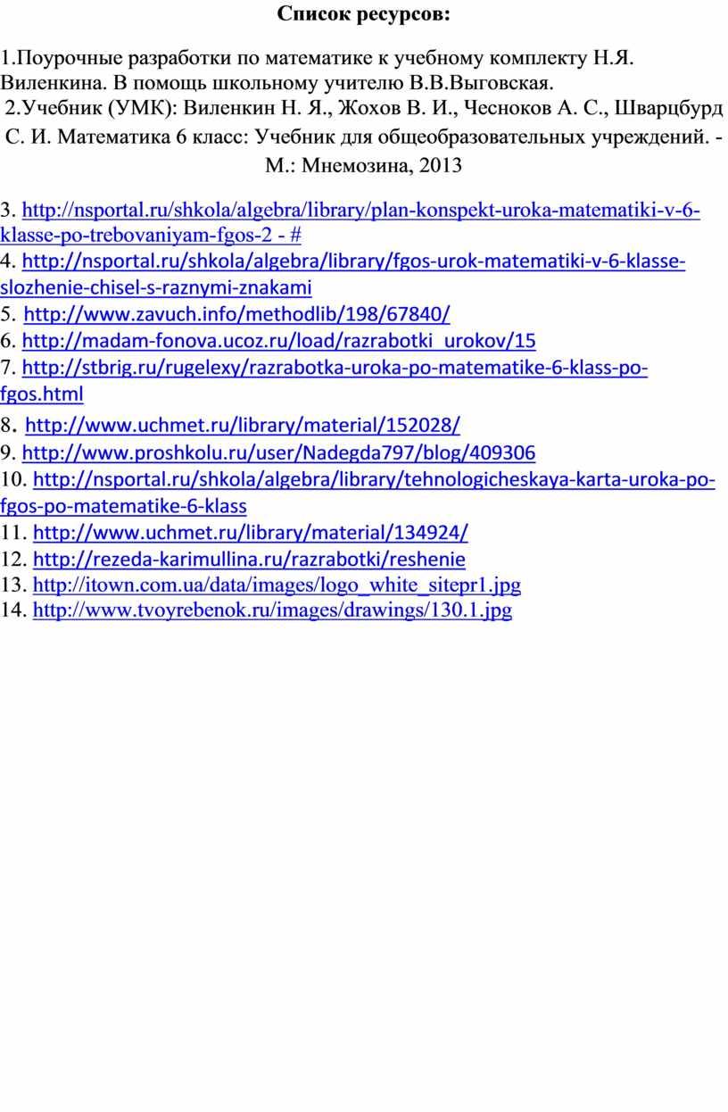 Список ресурсов: 1.Поурочные разработки по математике к учебному комплекту