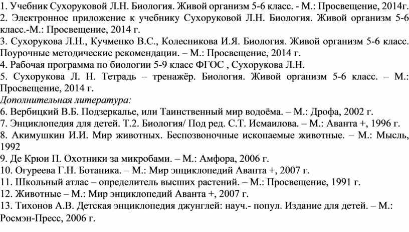 Учебник Сухоруковой Л.Н. Биология