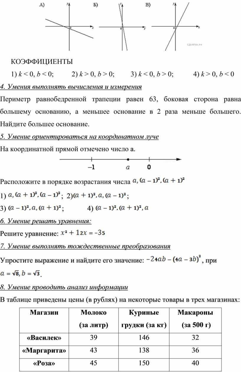 КОЭФФИЦИЕНТЫ 1) k < 0, b < 0; 2) k > 0, b > 0; 3) k < 0, b > 0; 4) k >…