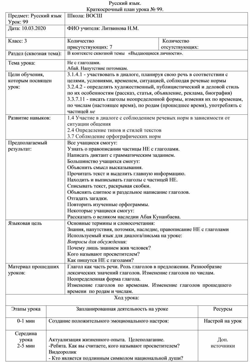 Русский язык. Краткосрочный план урока № 99