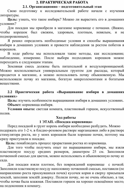 ПРАКТИЧЕСКАЯ РАБОТА 2.1. Организационно – подготовительный этап