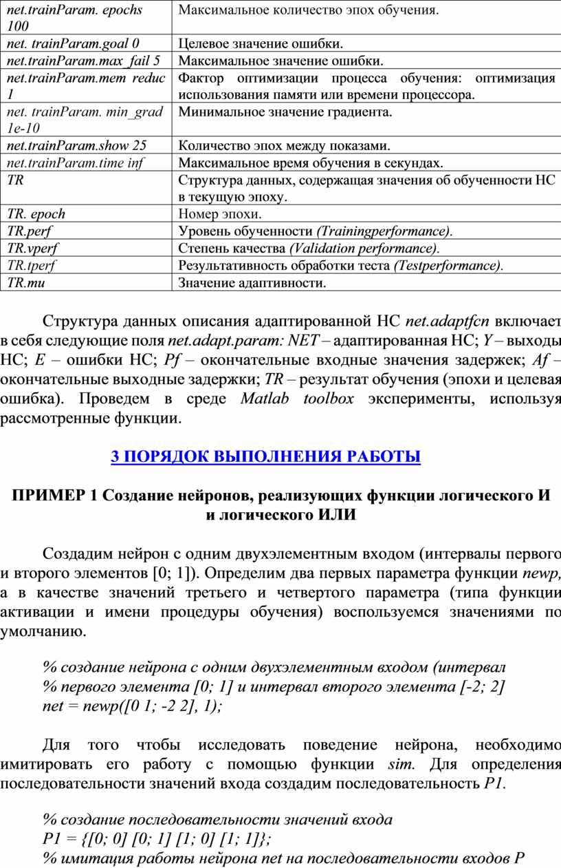 Param. epochs 100 Максимальное количество эпох обучения
