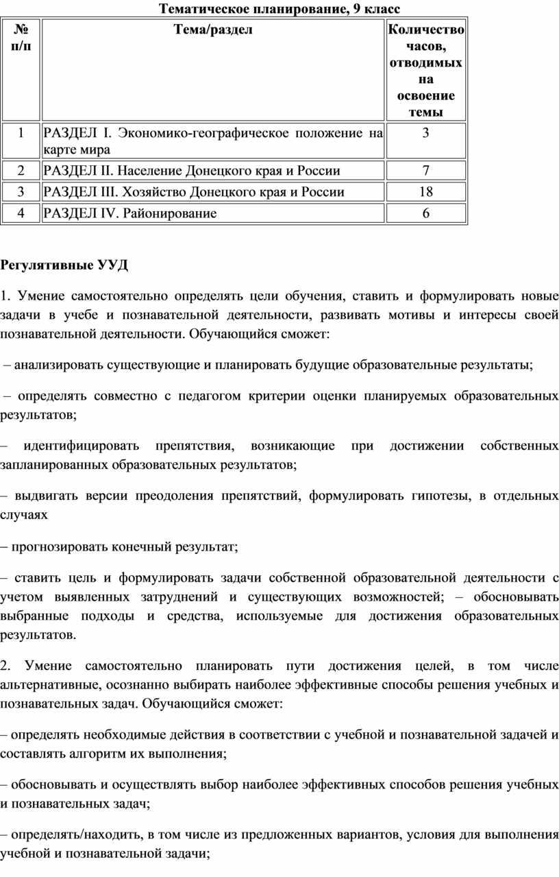 Тематическое планирование, 9 класс № п/п