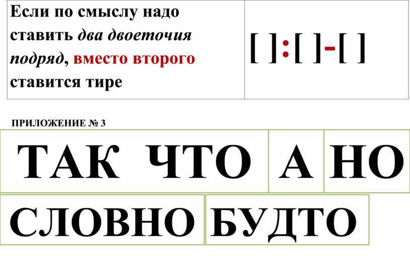 Если по смыслу надо ставить два двоеточия подряд , вместо второго ставится тире [ ] : [ ] - [ ]