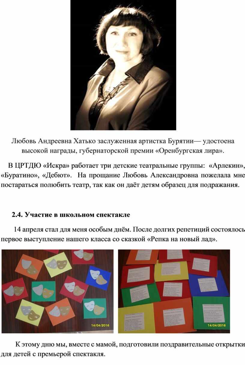 Любовь Андреевна Хатько заслуженная артистка