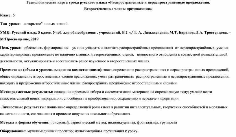 Технологическая карта урока русского языка «Распространенные и нераспространенные предложения