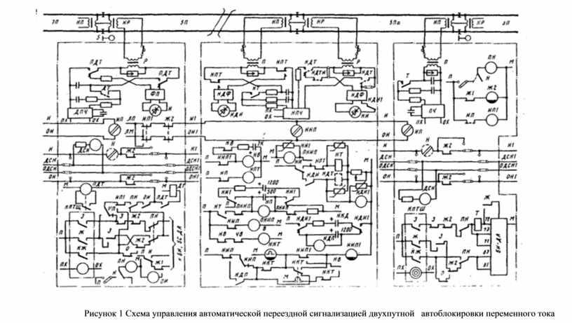 Рисунок 1 Схема управления автоматической переездной сигнализацией двухпутной автоблокировки переменного тока
