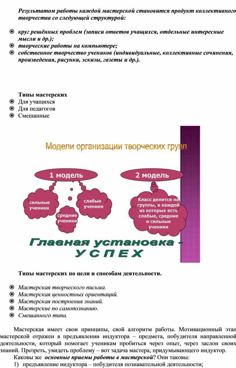 Результатом работы каждой мастерской становится продукт коллективного творчества со следующей структурой: ž круг решённых проблем (записи ответов учащихся, отдельные интересные мысли и др