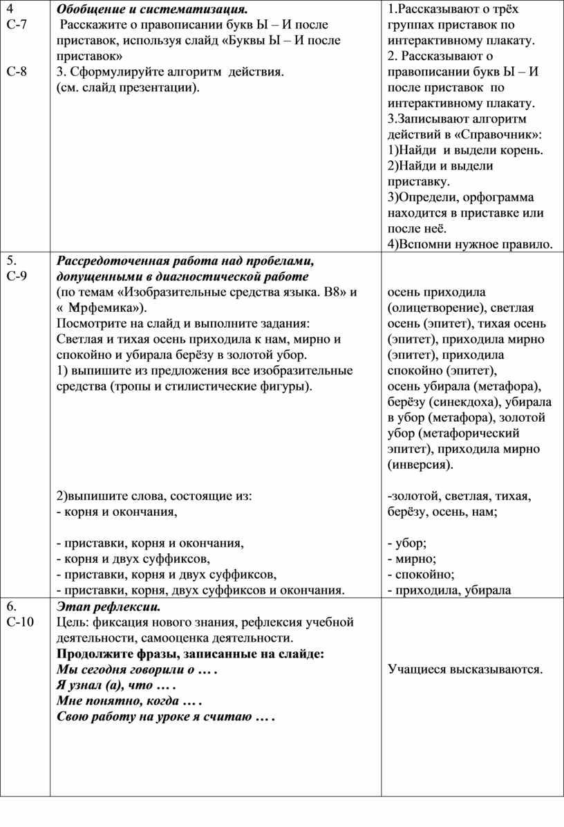 С-7 С-8 Обобщение и систематизация
