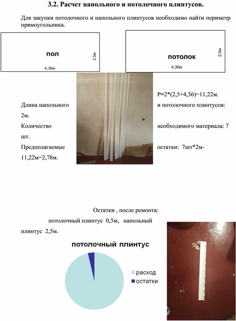 Расчет напольного и потолочного плинтусов