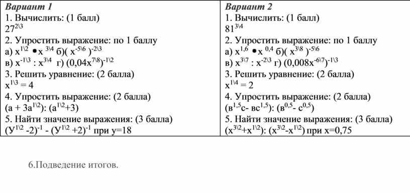 Вариант 1 1. Вычислить: (1 балл) 27 2\3 2