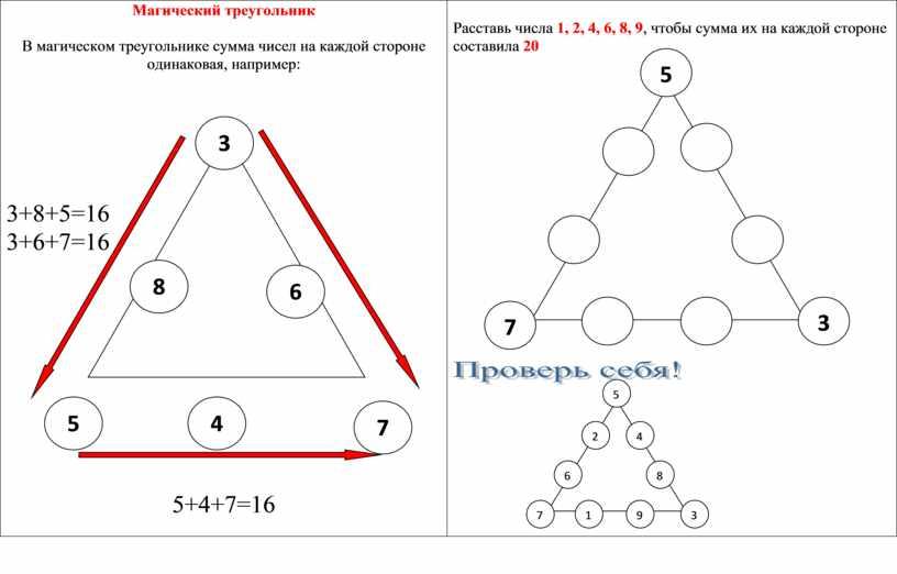 Магический треугольник В магическом треугольнике сумма чисел на каждой стороне одинаковая, например: 3+8+5=16 3+6+7=16 5+4+7=16