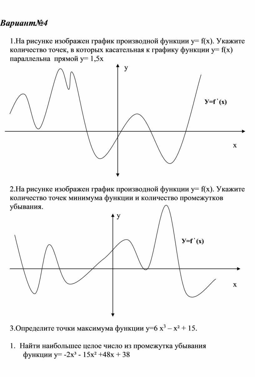 Вариант№4 1.На рисунке изображен график производной функции у= f (х)