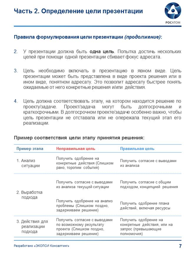 Часть 2. Определение цели презентации