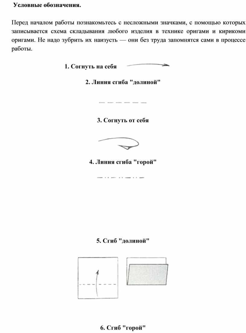 Условные обозначения. Перед началом работы познакомьтесь с несложными значками, с помощью которых записывается схема складывания любого изделия в технике оригами и кирикоми оригами