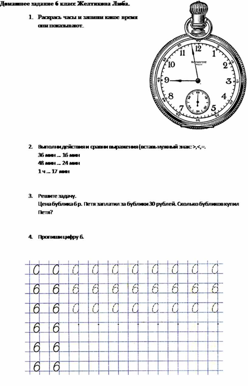 Домашнее задание 6 класс Желтикова