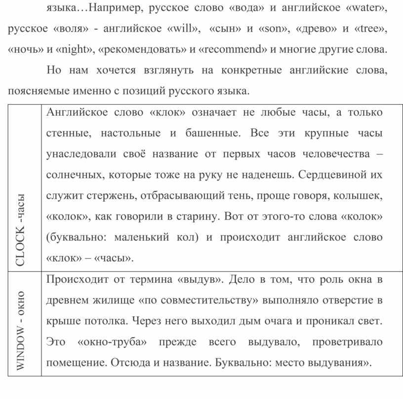 Например, русское слово «вода» и английское «water», русское «воля» - английское «will», «сын» и «son», «древо» и «tree», «ночь» и «night», «рекомендовать» и «recommend» и…