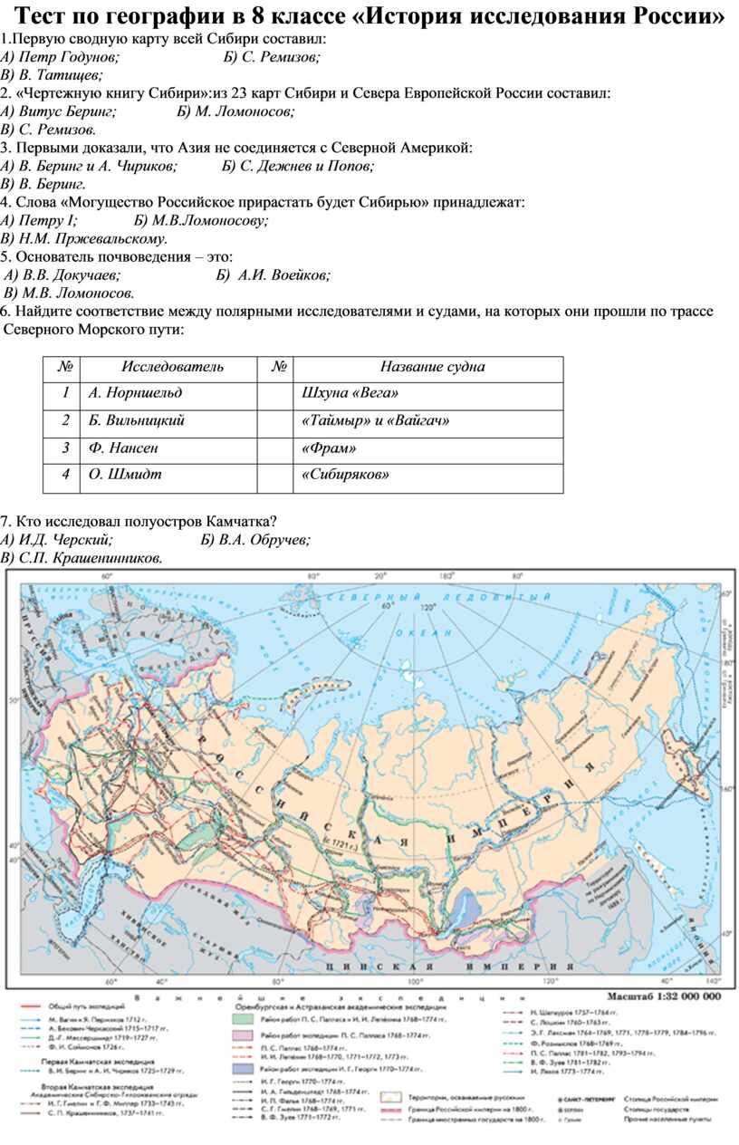 Тест по географии в 8 классе «История исследования