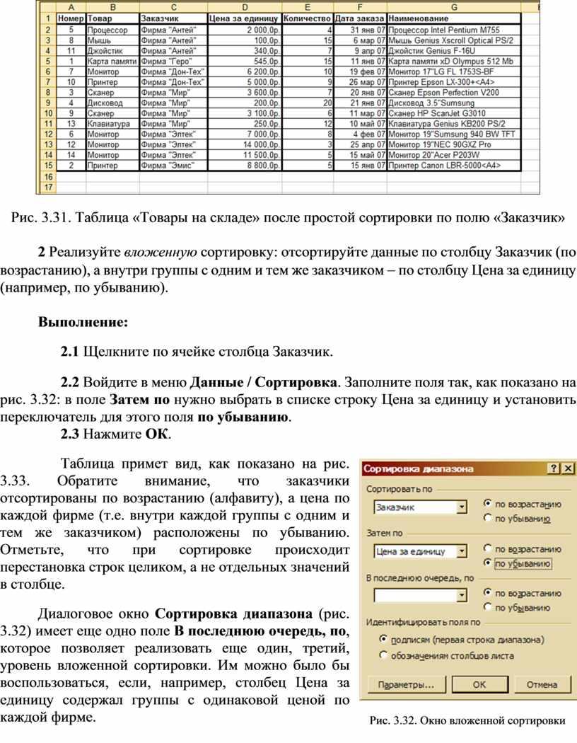 Рис. 3.31. Таблица «Товары на складе» после простой сортировки по полю «Заказчик» 2