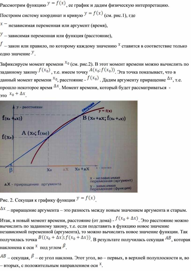 Рассмотрим функцию , ее график и дадим физическую интерпретацию