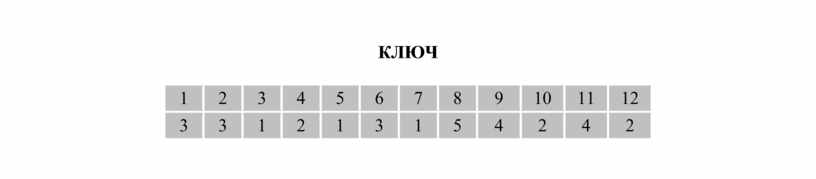 КЛЮЧ 1 2 3 4 5 6 7 8 9 10 11 12 3 3 1 2 1 3 1 5 4 2 4 2