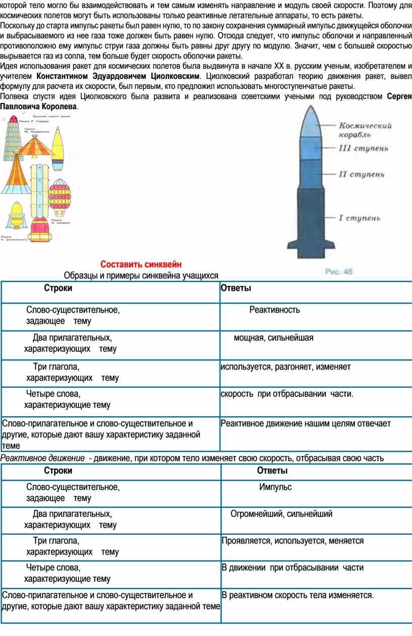 Поэтому для космических полетов могут быть использованы только реактивные летательные аппараты, то есть ракеты