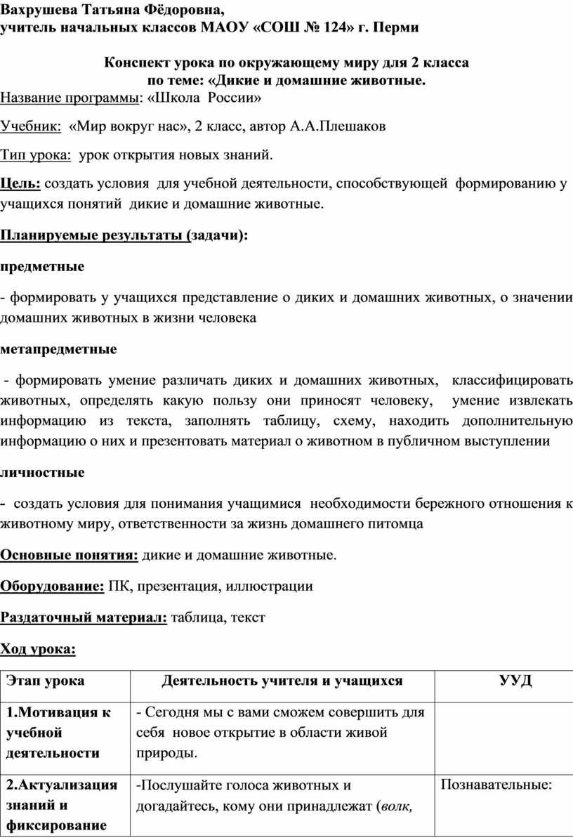 Вахрушева Татьяна Фёдоровна, учитель начальных классов