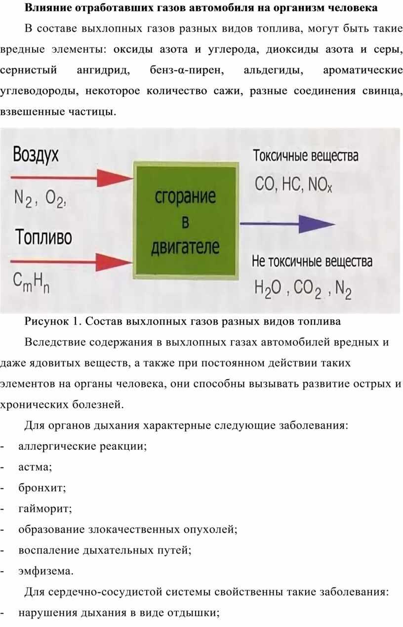 Влияние отработавших газов автомобиля на организм человека
