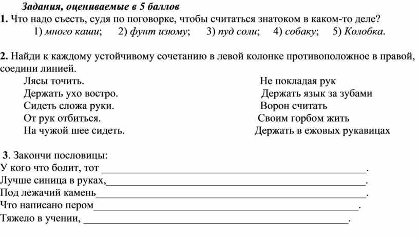 Задания, оцениваемые в 5 баллов 1