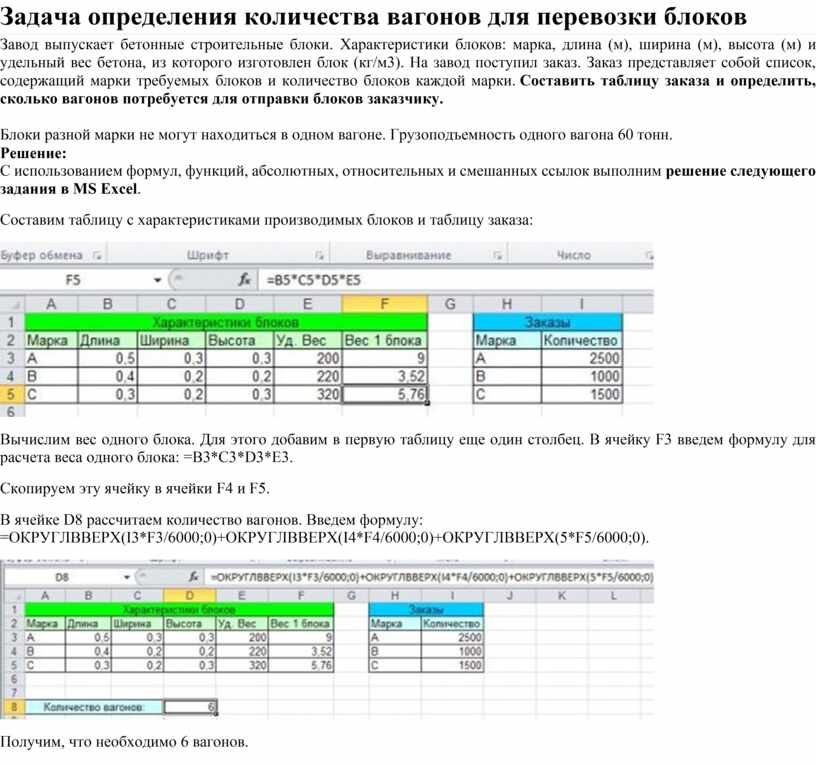 Задача определения количества вагонов для перевозки блоков