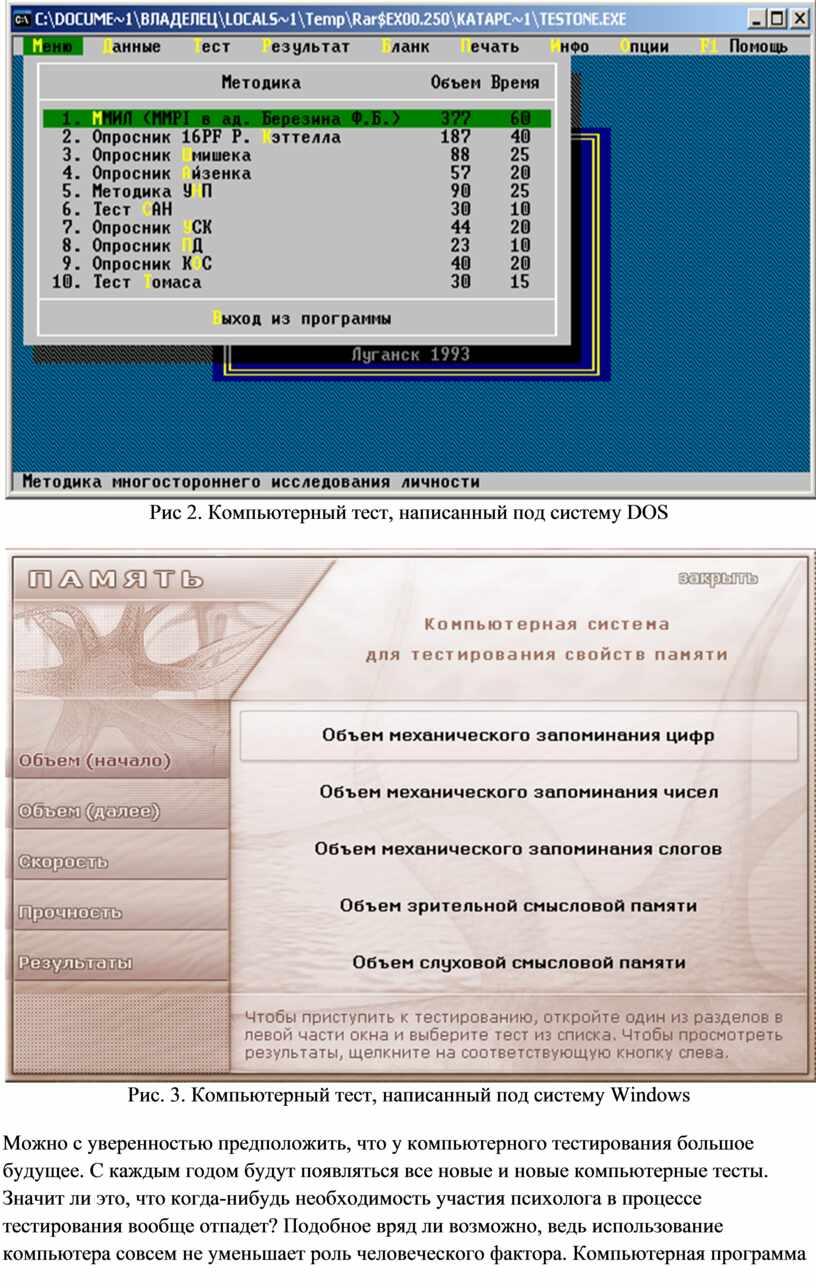 Рис 2. Компьютерный тест, написанный под систему