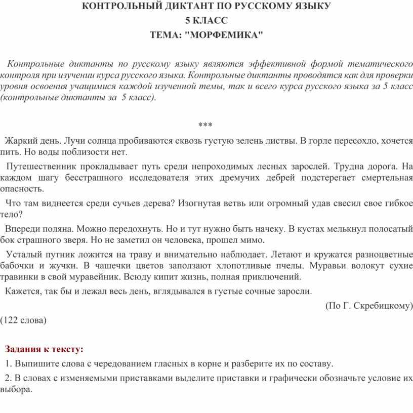КОНТРОЛЬНЫЙ ДИКТАНТ ПО РУССКОМУ
