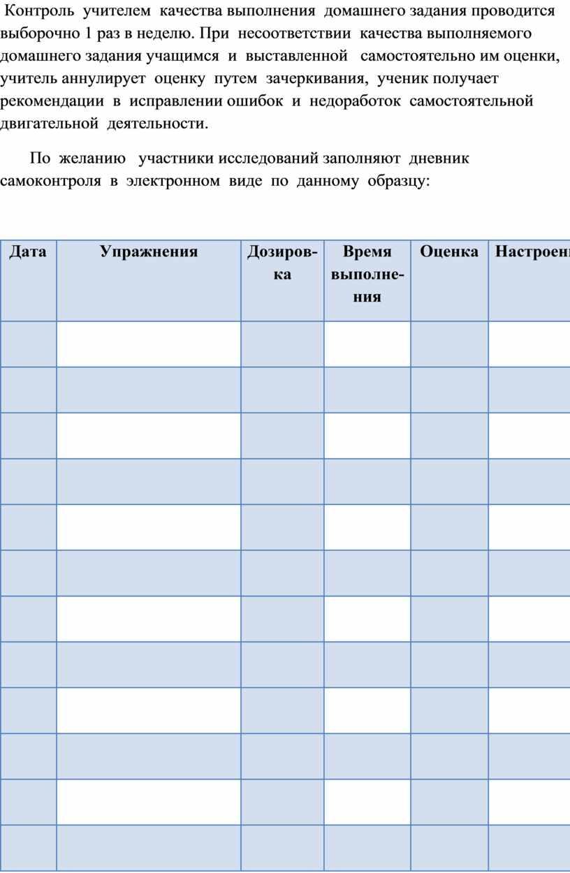 Контроль учителем качества выполнения домашнего задания проводится выборочно 1 раз в неделю