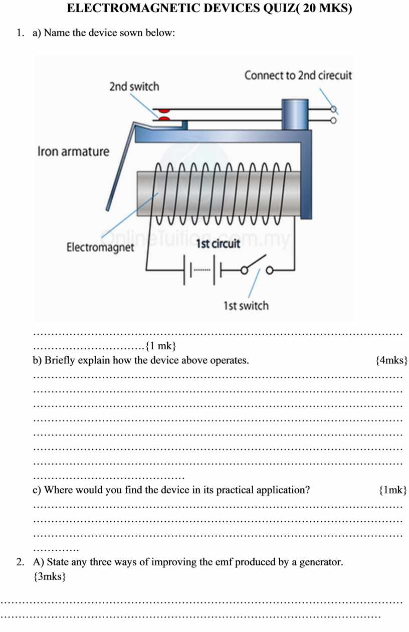 ELECTROMAGNETIC DEVICES QUIZ( 20