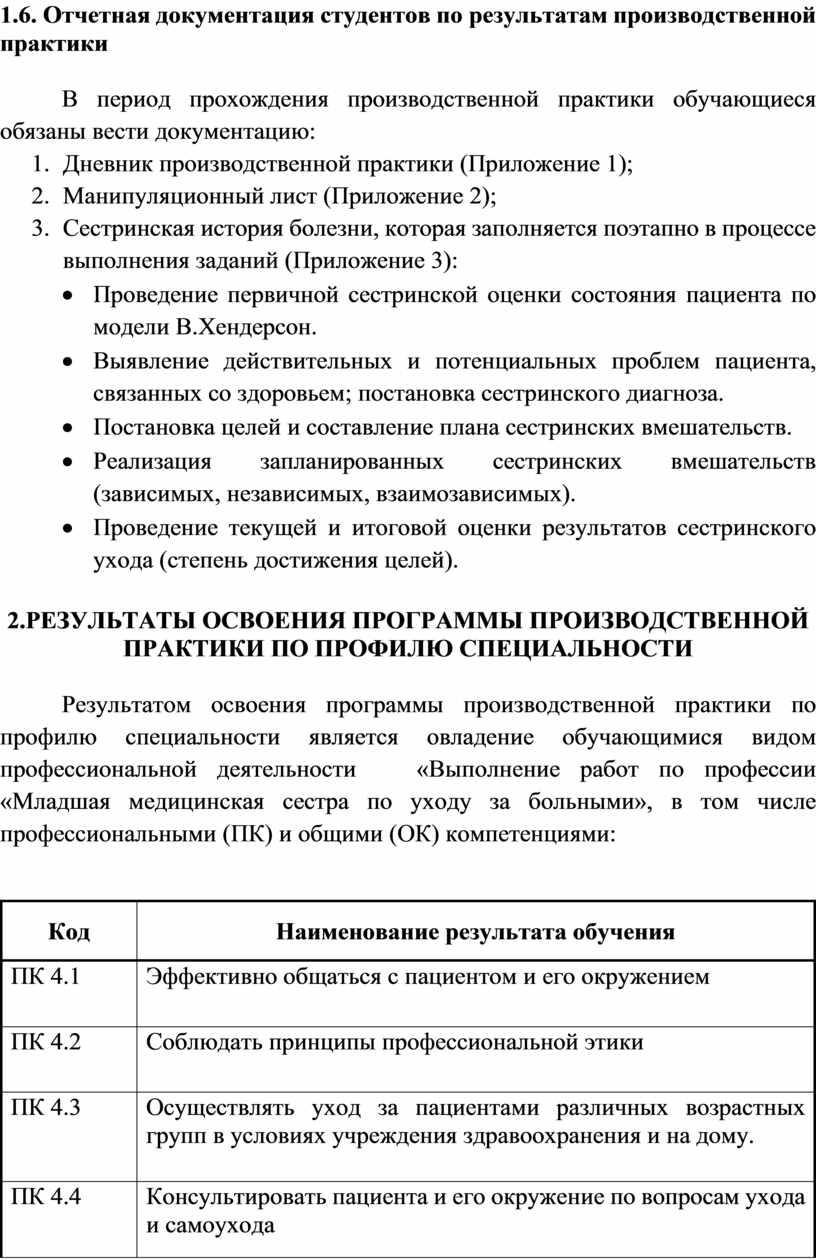 Отчетная документация студентов по результатам производственной практики