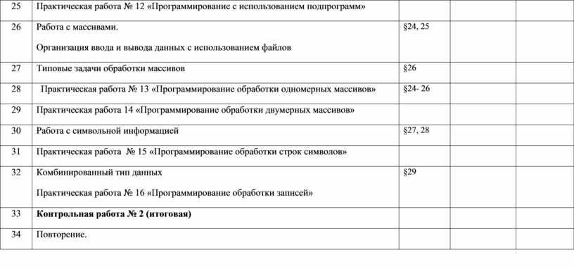 Практическая работа № 12 «Программирование с использованием подпрограмм» 26