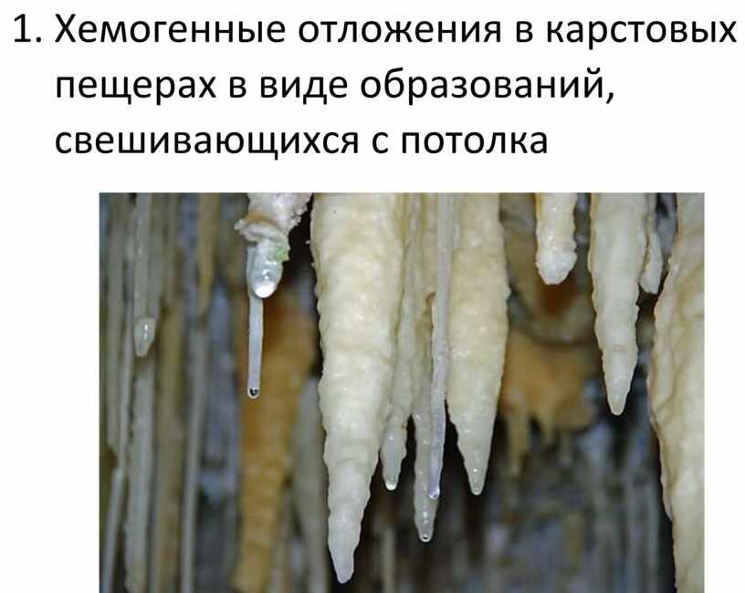Хемогенные отложения в карстовых пещерах в виде образований, свешивающихся с потолка