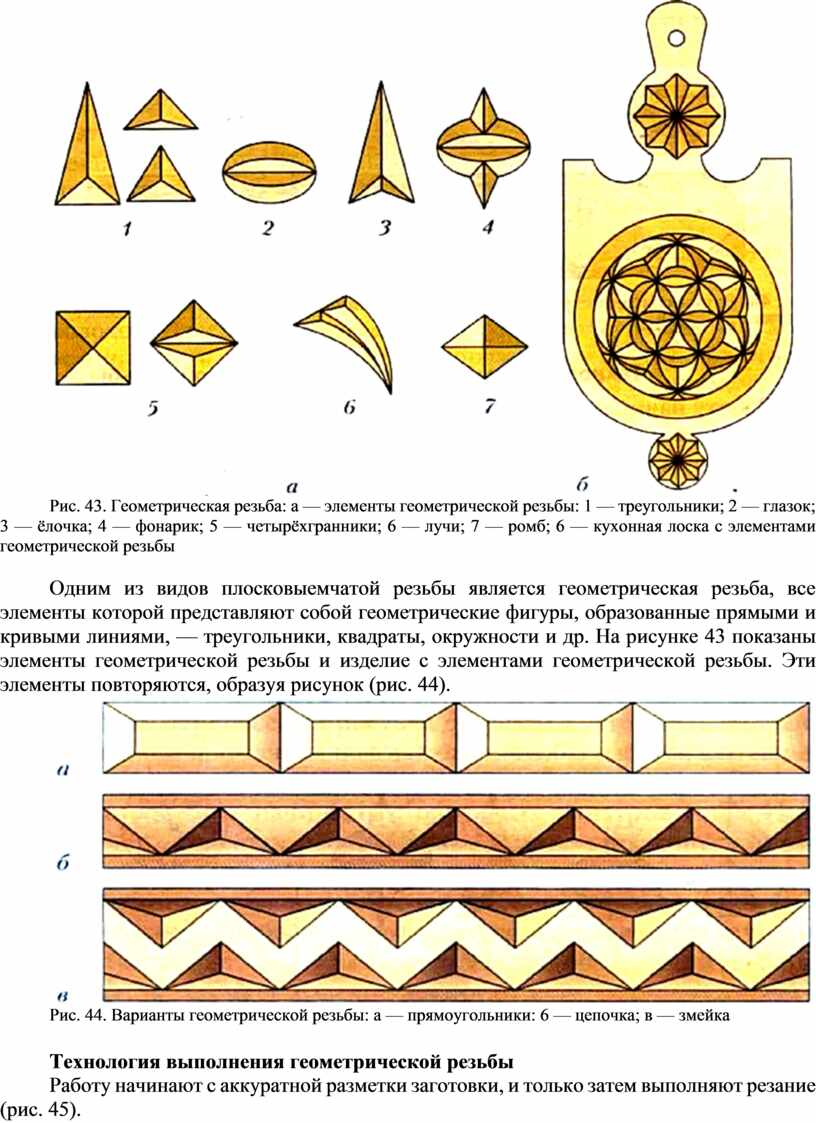 Рис. 43. Геометрическая резьба: а — элементы геометрической резьбы: 1 — треугольники; 2 — глазок; 3 — ёлочка; 4 — фонарик; 5 — четырёхгранники; 6…