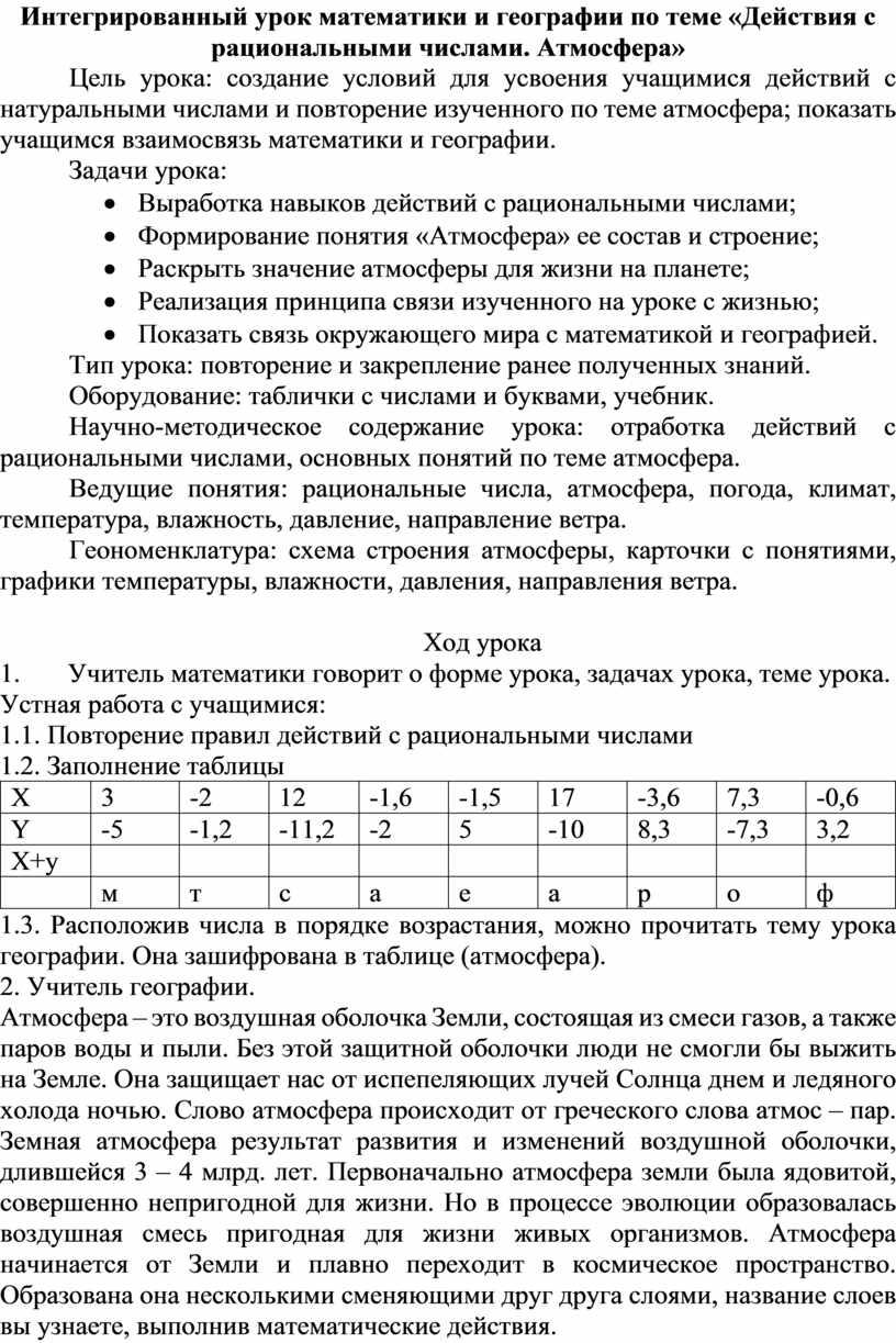 Интегрированный урок математики и географии по теме «Действия с рациональными числами