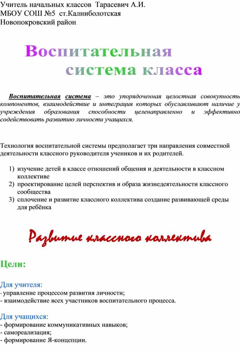 Учитель начальных классов Тарасевич