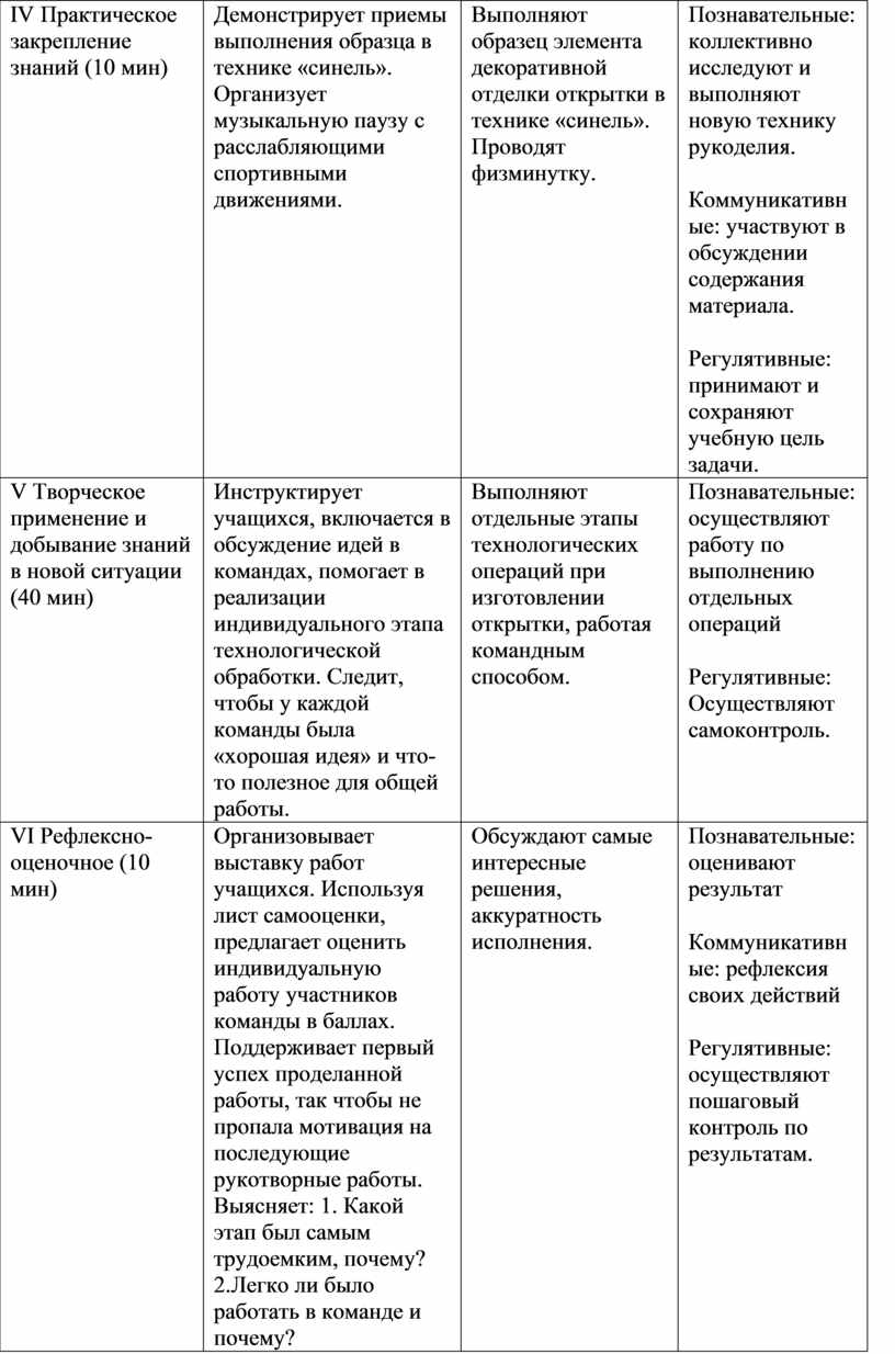 IV Практическое закрепление знаний (10 мин)