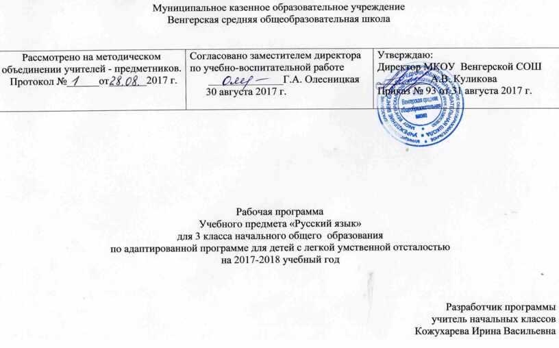 Рабочая программа по русскому языку 3 класс по АОП